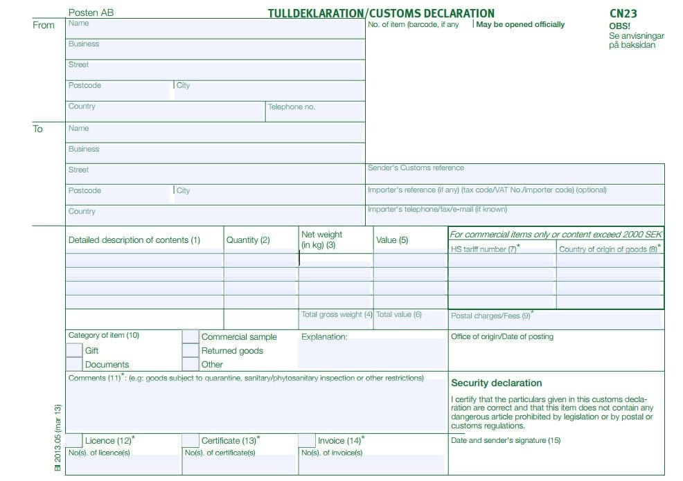 customs declaration form sample