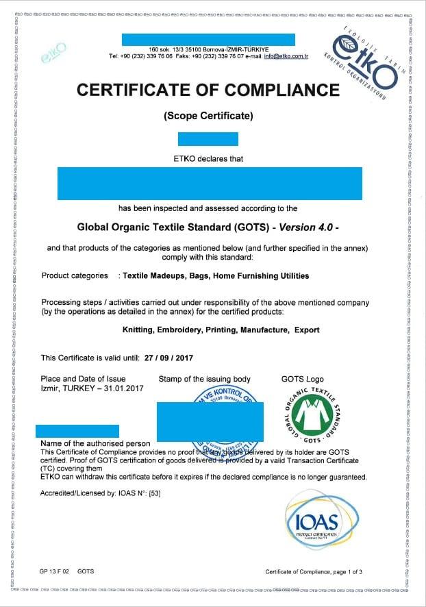 GOTS certifiate sample